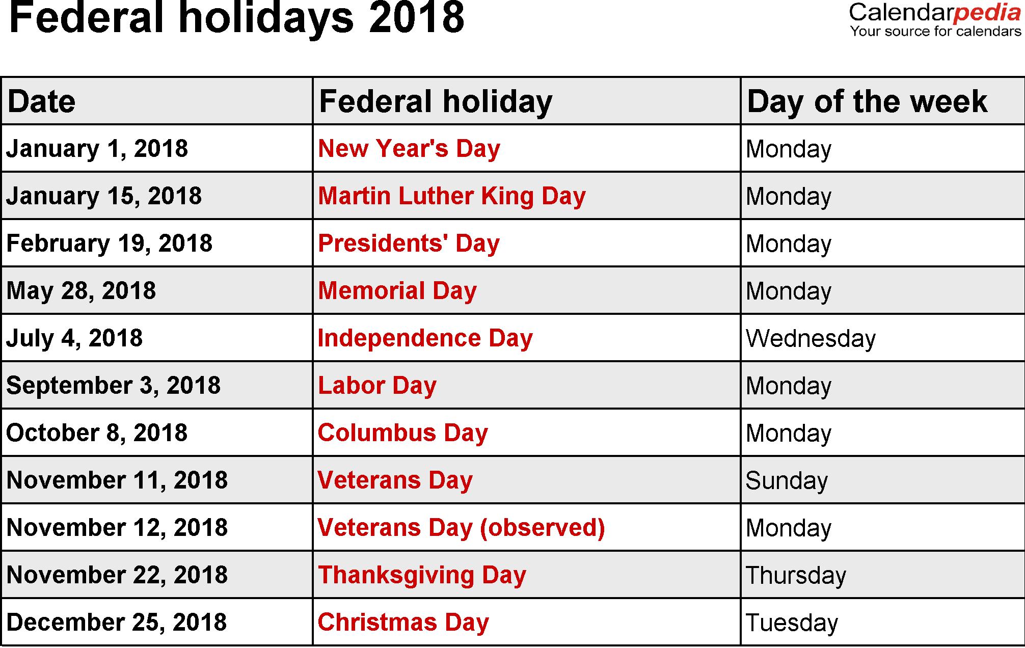 us federal holidays 2018 calendar 2018 calendars pinterest
