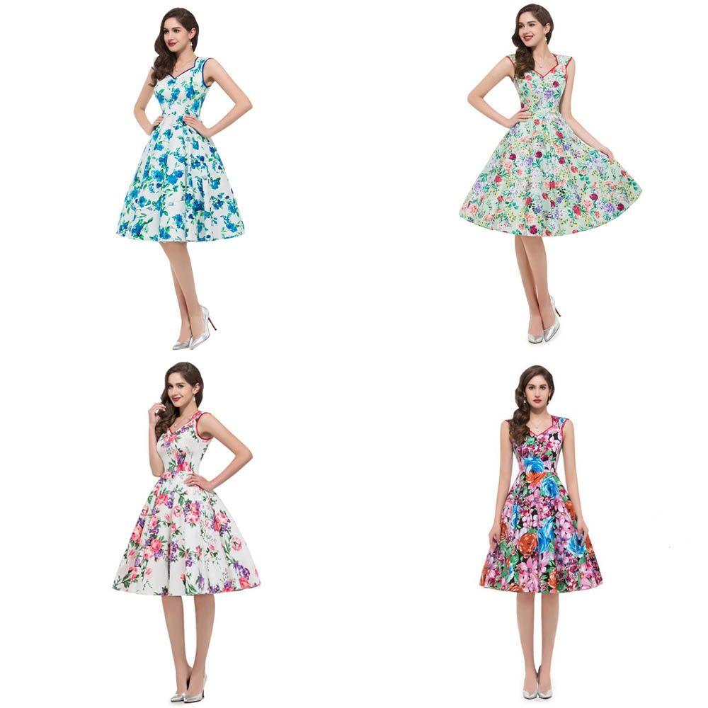 Charmma women vintage dresses hepburn style sweetheart neck floral a