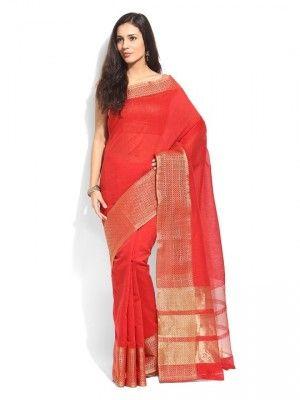 00fbaffdd7 Bhelpuri red cotton traditional saree | sarees | Saree, Cotton saree ...