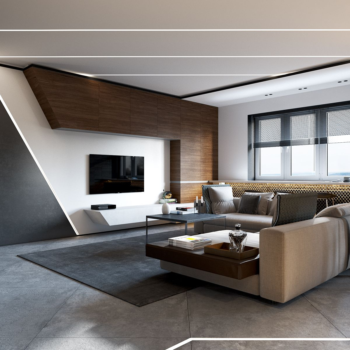 Sleek Contemporary Living Room Concrete And Wood Is A Nice Mix