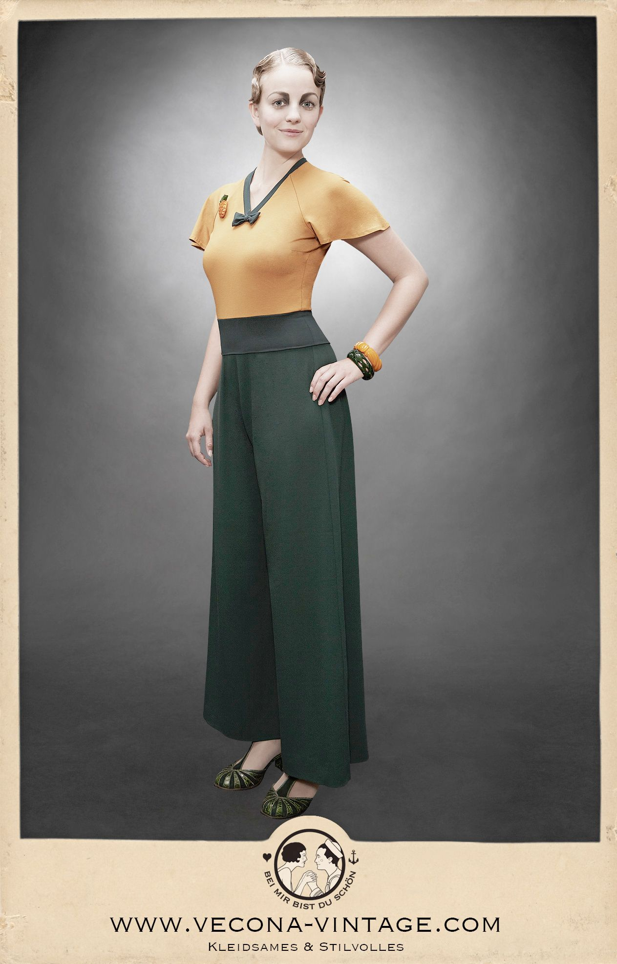 The flowing wide-legged slacks are made from heavy well-draping crepe and are…