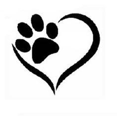 hondenpootje met hartje zoeken