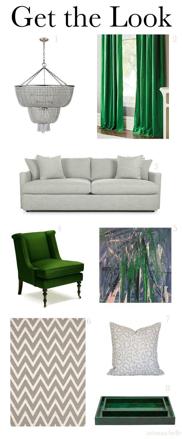 Emerald Green + Grey Bedroom & Interiors Inspiration - Chic ...