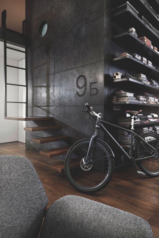 Spectacular small attic apartment bike interni stile for Appartamento design industriale