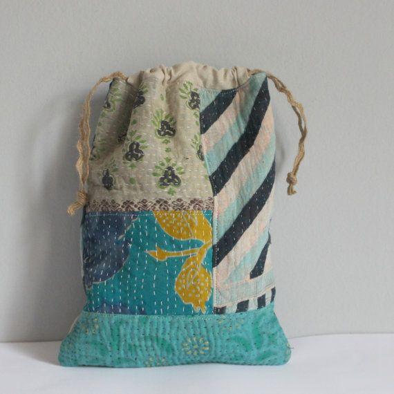 Drawstring bag vintage kantha quilt blues