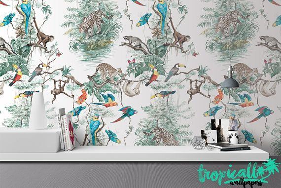Dieren Behang Kinderkamer : Jungle dieren wallpaper niet geweven wallpaper floral