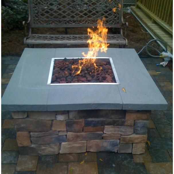 Oec Scs20mlnbbd 36 X 36 Inch Square Propane Gas Fire Pit With Cultured Stone Base Bluestone Top Ultimate Patio Gas Firepit Natural Gas Fire Pit Fire Pit