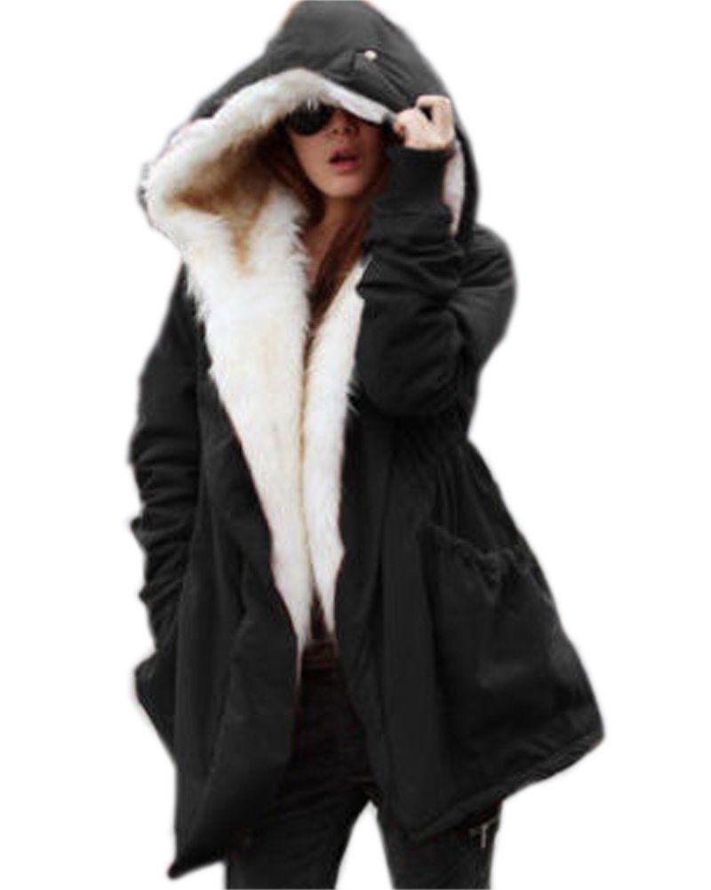 fad300f02 Roiii Women Thicken Warm Winter Coat Hood Parka Overcoat Long Jacket Outwear  (XX-Large (14), Black)