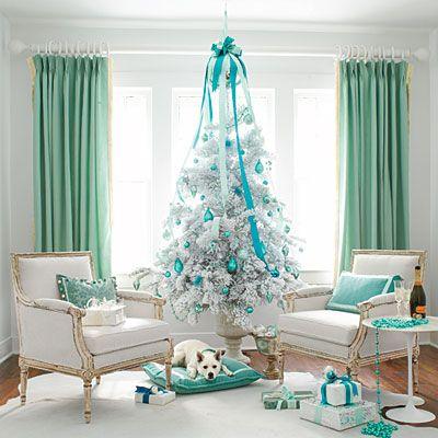 White Christmas Tree Colorful Theme Ideas Decoration Teal Blue