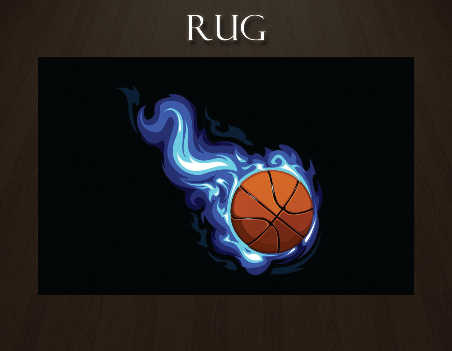 Basketball Rug With Blue Flames And Black Background Sports Rugs