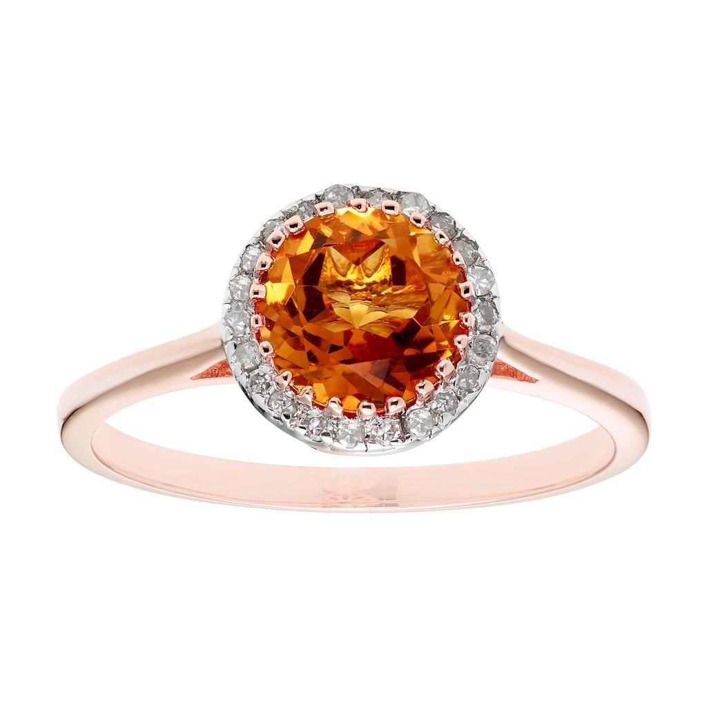 10k Gold 1 10 Carat T W Diamond Citrine Ring Citrine Ring Fashion Rings Diamond