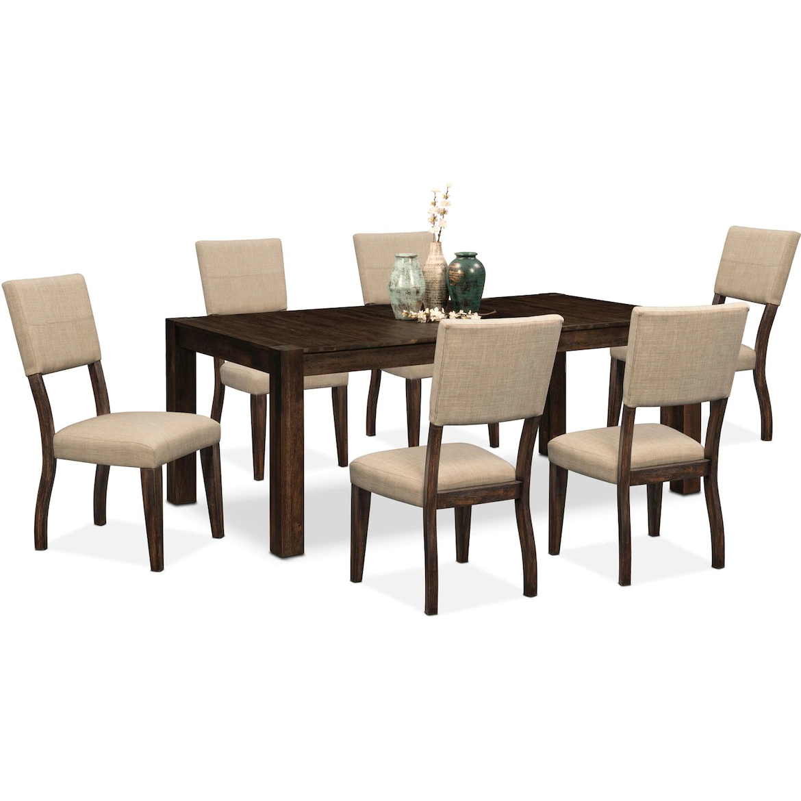 Tribeca Dining Table and 6 Upholstered Dining Chairs