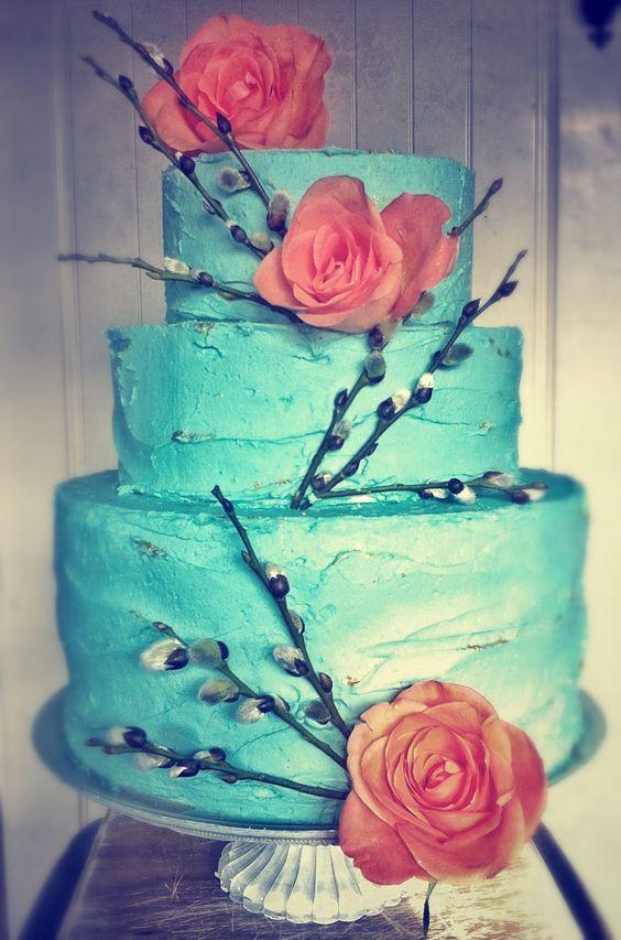Turquoise and coral wedding cake ideas. #turquoisecoralweddings