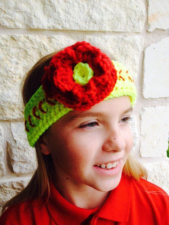 Softball Headwrap with Flower, Softball Headband, Crochet Headband ...
