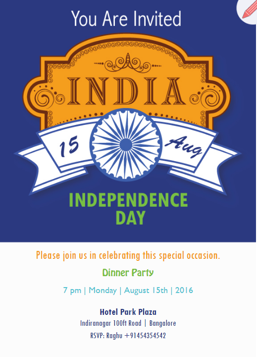 Patriotic theme indian independence invitation | Lemon Tree
