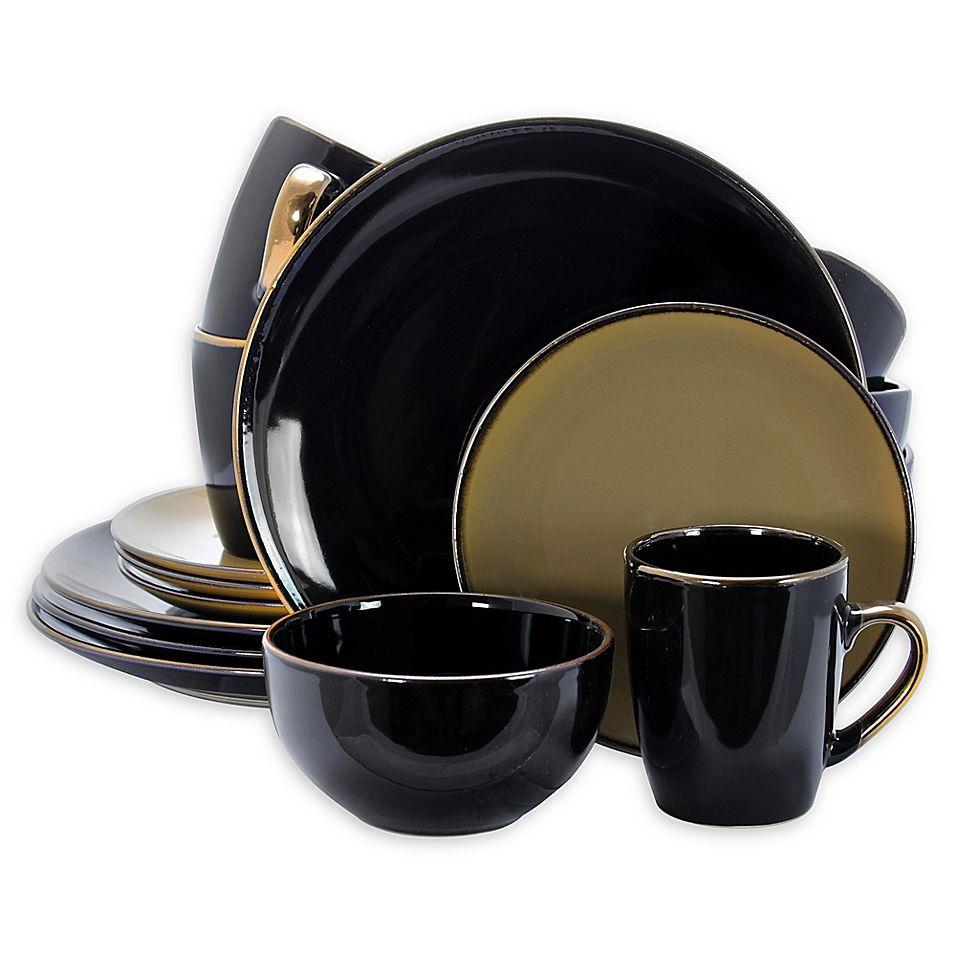 Elama Dark Passion Grand 16 Piece Dinnerware Set Black Taupe