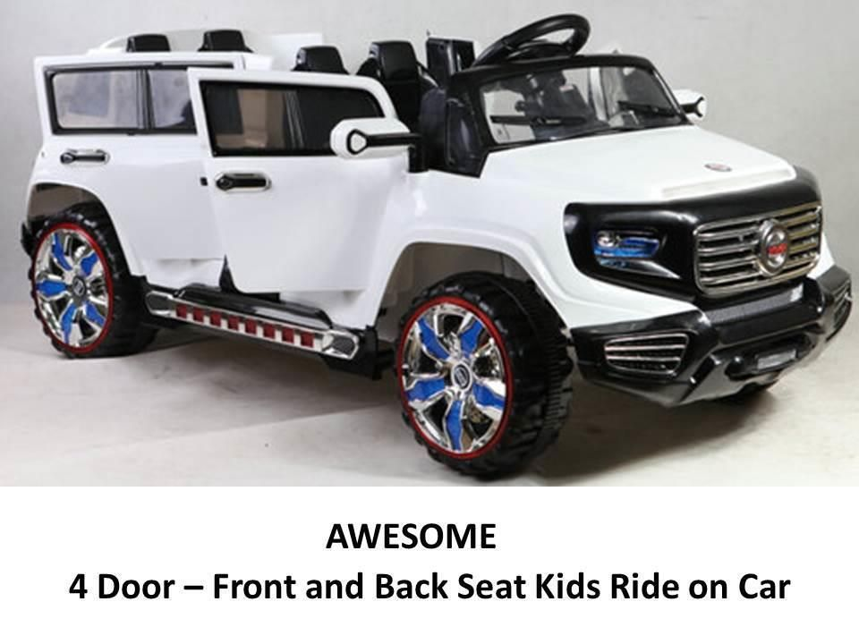 2 Seat 4 Door 12v Power Ride On Parental Remote Control Car Wheels White Kids Ride On Toys Power Wheels Toy Cars For Kids