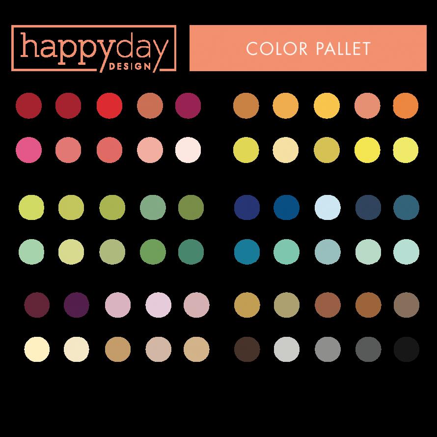 Happy Day Design » Color Pallet Orange bubbles, Coral