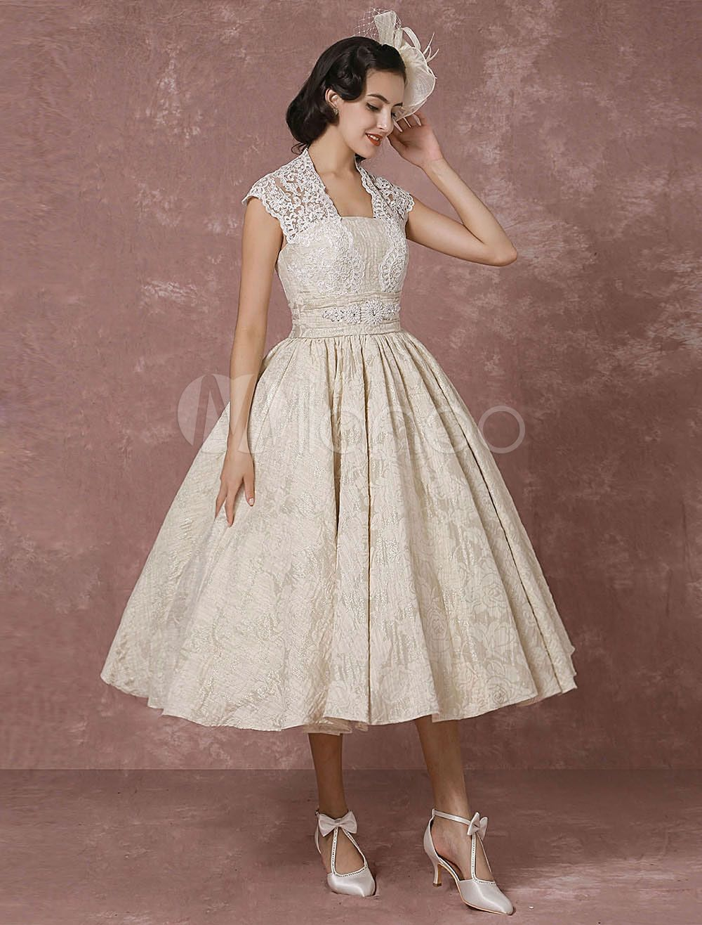 Short Wedding Dress Lace Champagne Vintage Bridal Dress Ball Gown Beading Backless Tea Length Bridal Gown With Sash Milanoo Short Lace Wedding Dress Short Wedding Dress Lace Wedding Dress Vintage