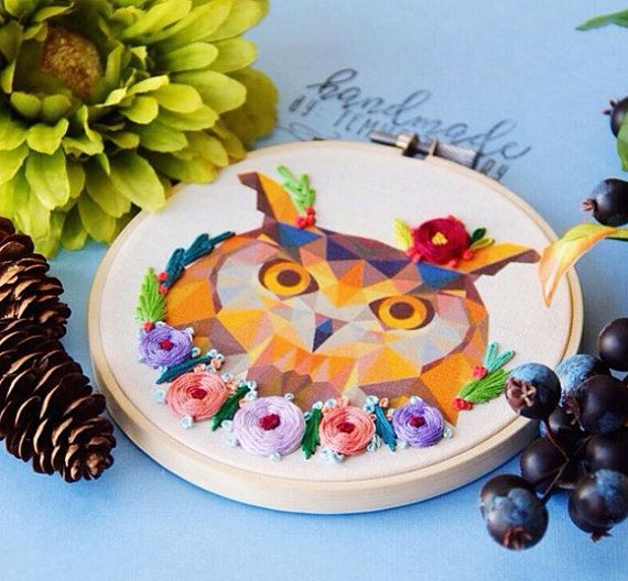 Owl Embroidery Hoop Art by Femmebroidery on Etsy