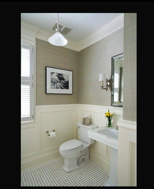 Yellow Bathroom Paint: Grass Cloth, Wanscoting, Green, Yellow & Beige Downstairs