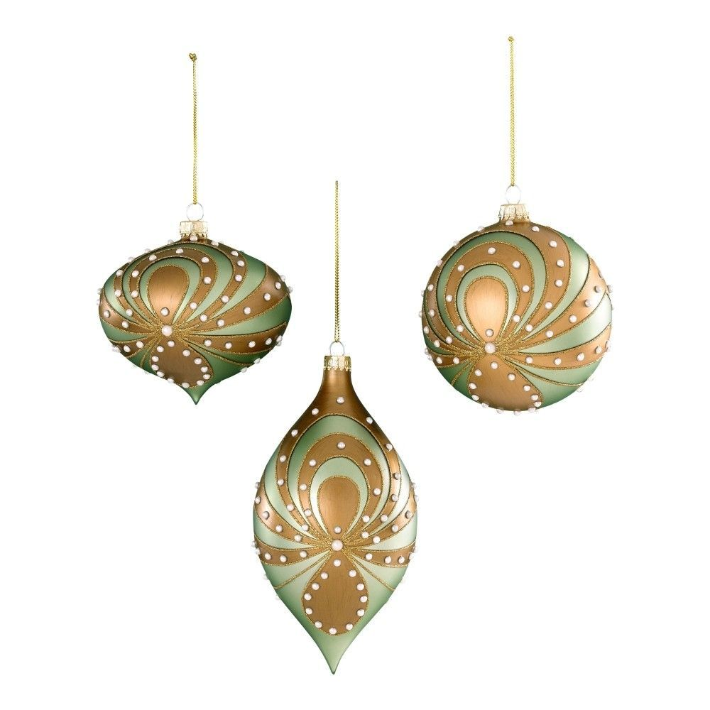 Donna Stevens 3 Piece Glass with Pearl Swirl Ornament (Set of 6)