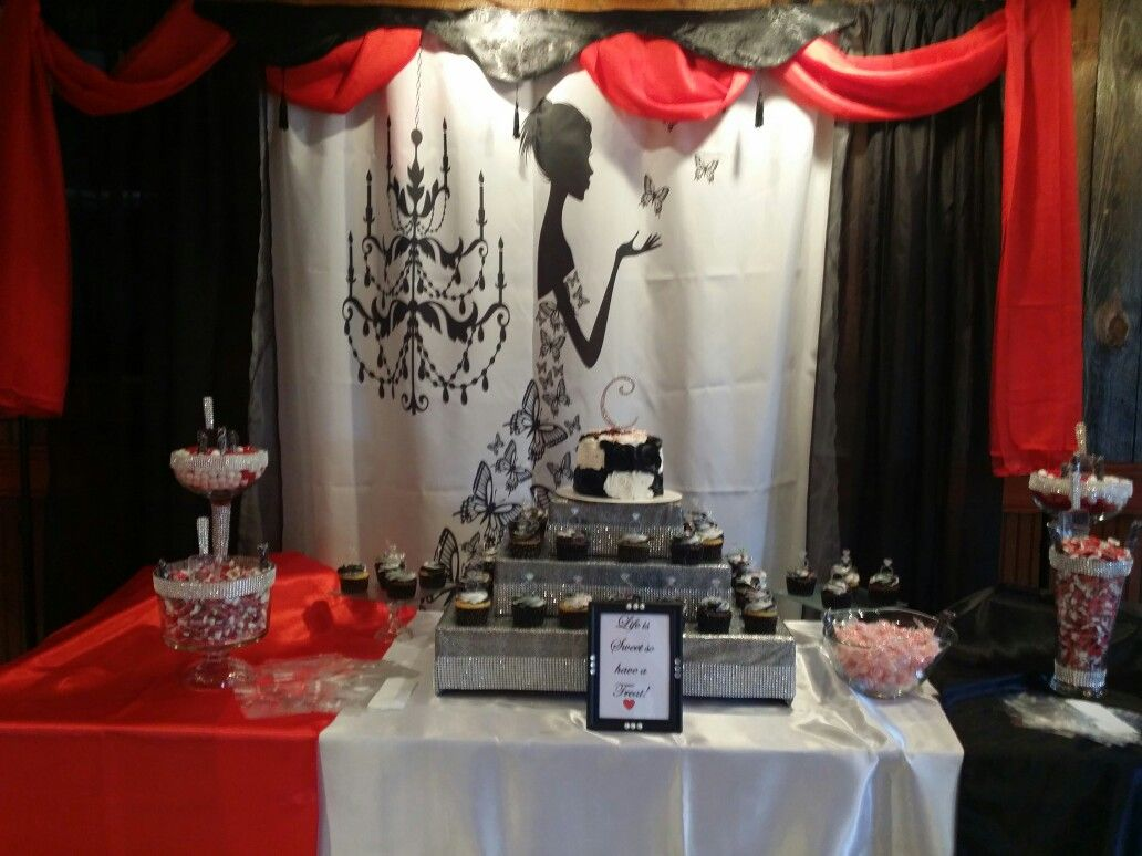 Red Black White Cupcake And Candy Stand By Me Bridal Shower