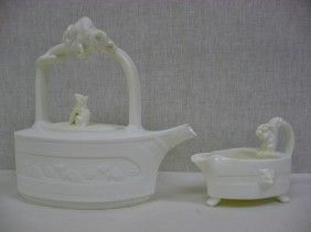 "MINTON ""Flat Iron""  Rare White glaze  Ca 1875 sold with boat/jug $1,200 2015"