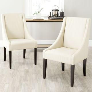 Safavieh Sloping Arm Chairwhite Cream Leather My Office Entrancing Leather Dining Room Chairs With Arms Design Ideas