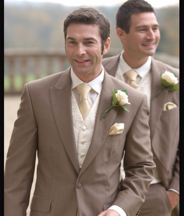 Brown Suit With Yellow Wedding