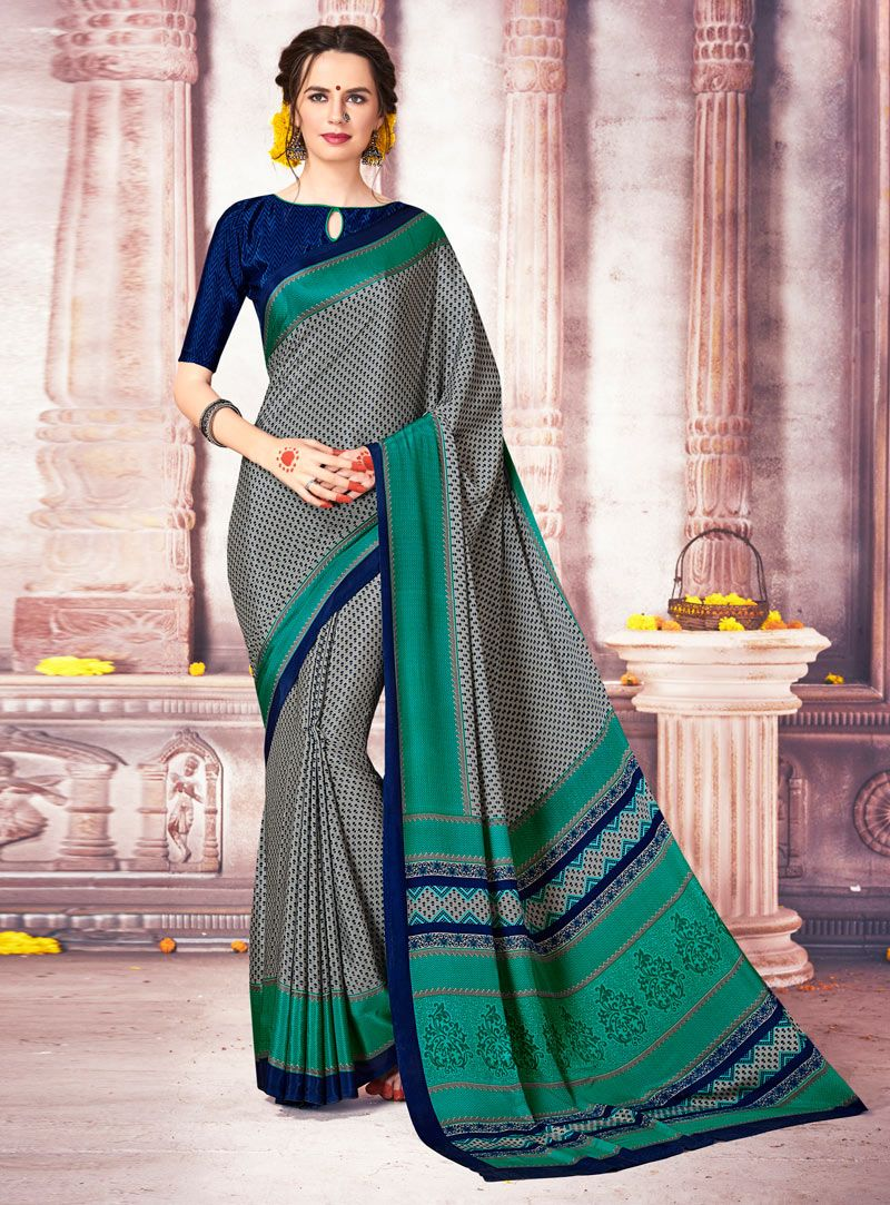 9d369683456 Gray Silk Printed Saree With Blouse 119043