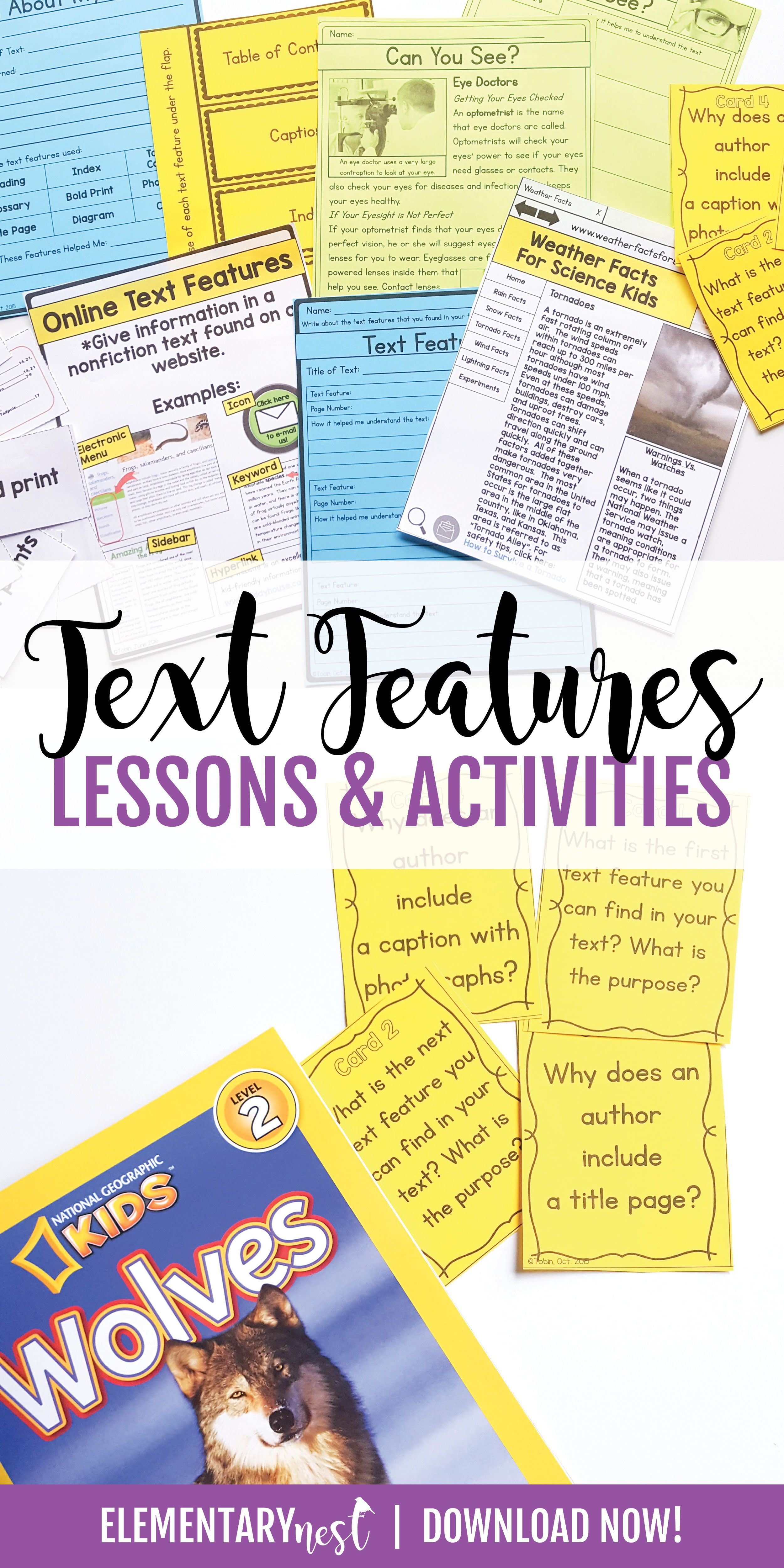 This Pack Is Packed Full Of Ideas And Resources To Use While You Are Teaching The Ccss Standard Nonfiction Text Features Text Features Text Features Activities
