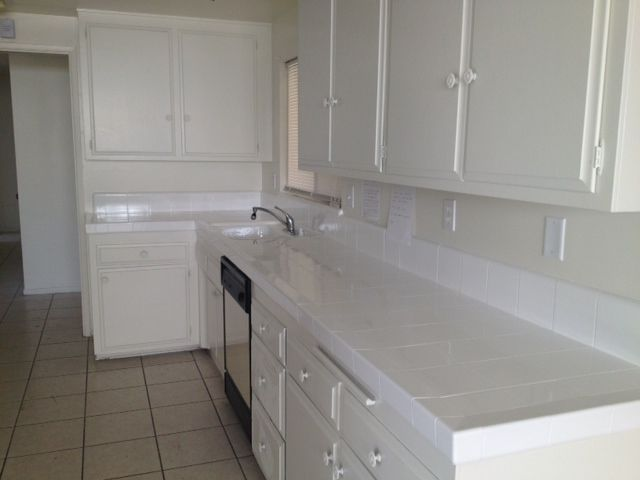 Kitchen Counters With Tile Pictures Countertop Reglazed In Bright White