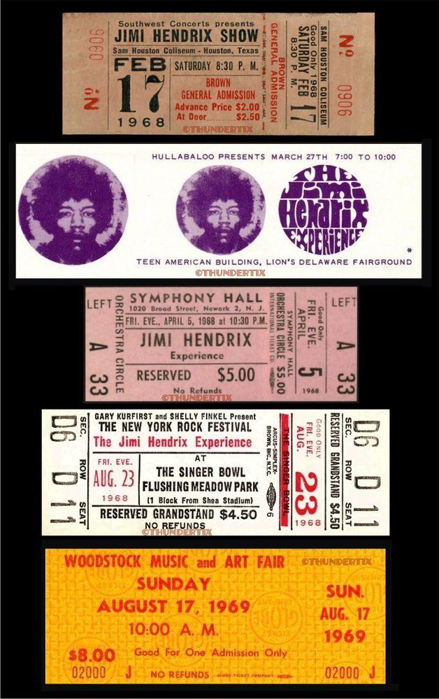 5 JIMI HENDRIX 1968-69 FULL UNUSED CONCERT TICKETS paper replicas - concert ticket invitation template