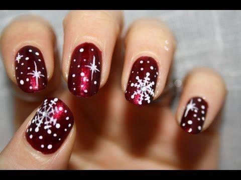 Christmas Snowflake Nail Art nails nail art christmas nail designs snowflakes ch...