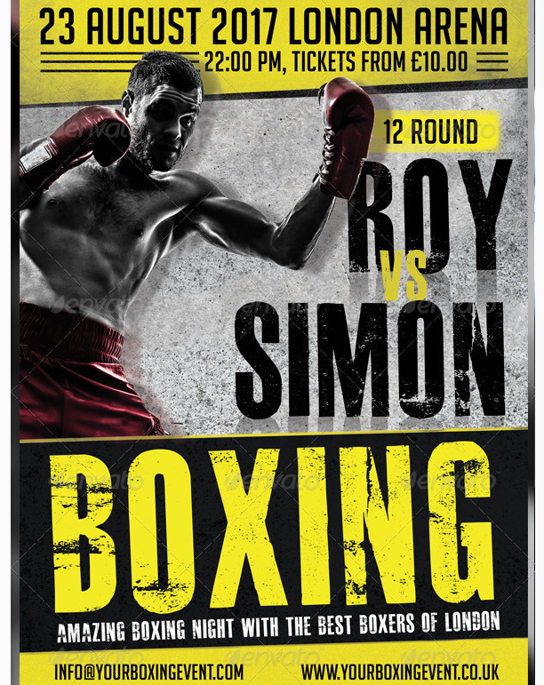 Boxing Contact Sports Flyer Template PSD - Party Flyer Templates For ...