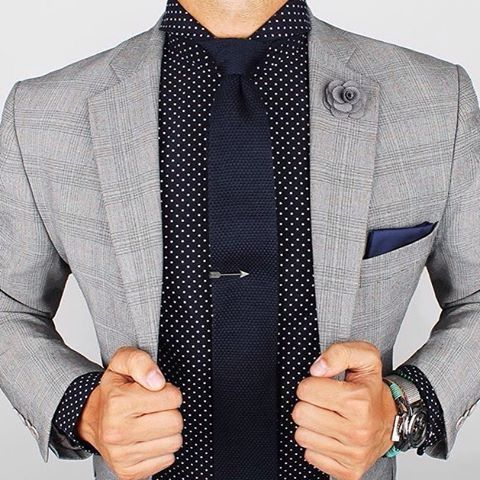 Super cool combination. Polka dot shirt + tie and jacket with light patterns is a great combination. Just don't over do it by combining 2 strong graphics Shirt is from, www.grandfrank.com thank you for letting me know pseudoparalysis