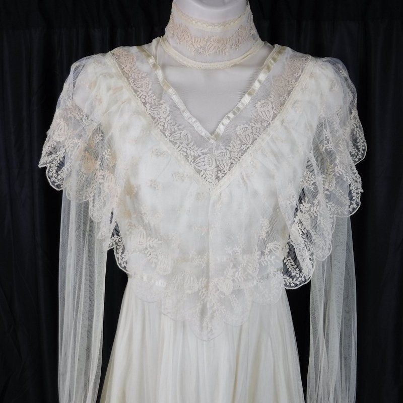 Gunne Sax Vtg 1970s Cream Victorian Bridal Wedding Dress