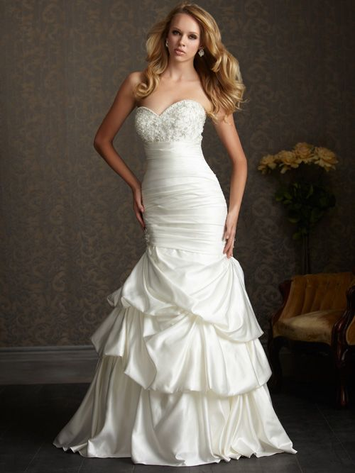 ruched satin embellished gown