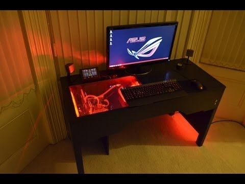 Custom Watercooled Pc Within A Desk Design Build Unity Desk Gaming Computer Desk Built In Computer Desk Gaming Computer