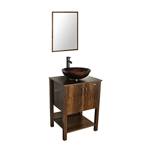 Kraus Illusion Glass Vessel Sink In Brown With Riviera Faucet In Oil Rubbed Bronze C Gv 580 12mm 1005orb The Home Depot Glass Vessel Sinks Vessel Sink Glass Vessel