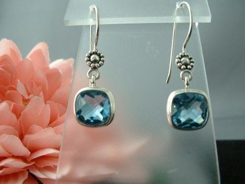 Sterling Silver Blue Topaz Post Earrings
