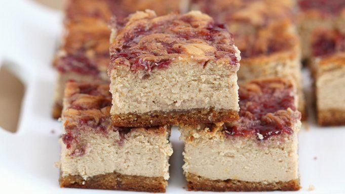 Peanut Butter & Jelly Cheesecake Bars