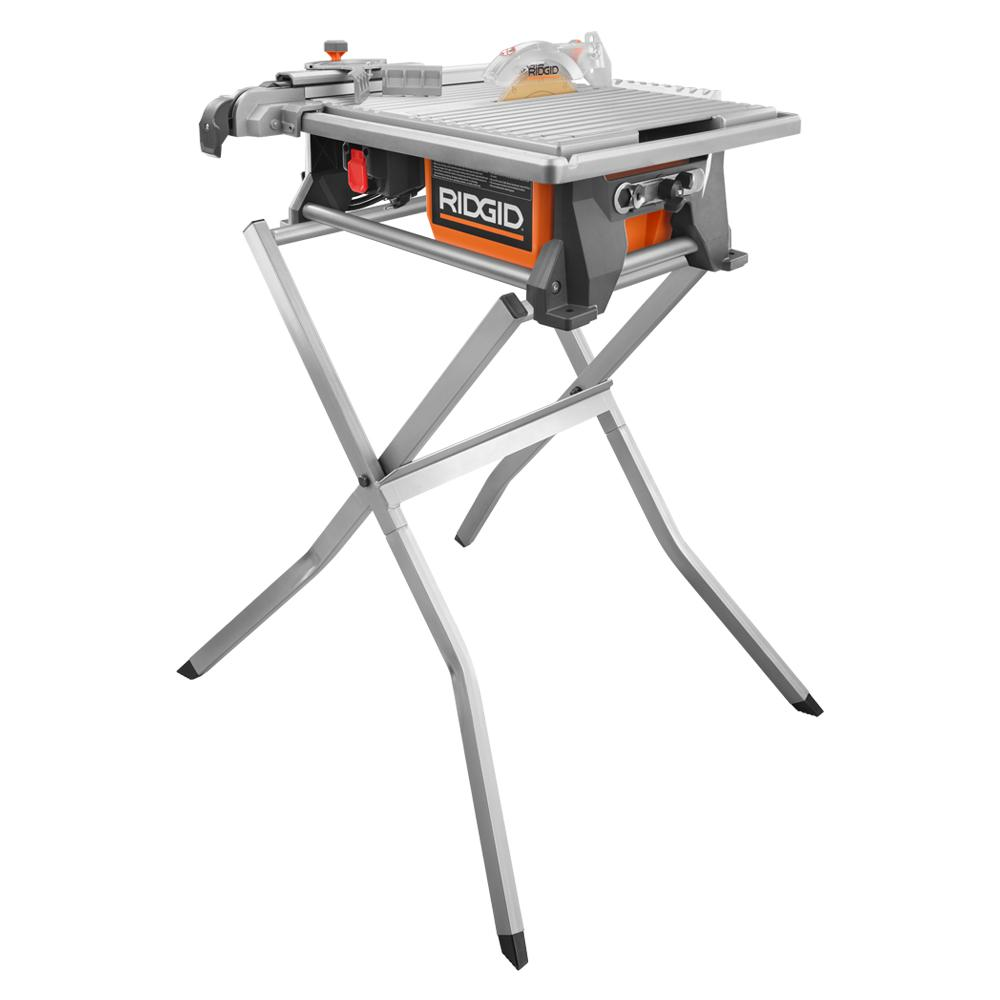 Ridgid 6 5 Amp Corded 7 In Table Top Wet Tile Saw With Stand R4021sn With Images Tile Saw Tiles Large Hexagon Floor Tile