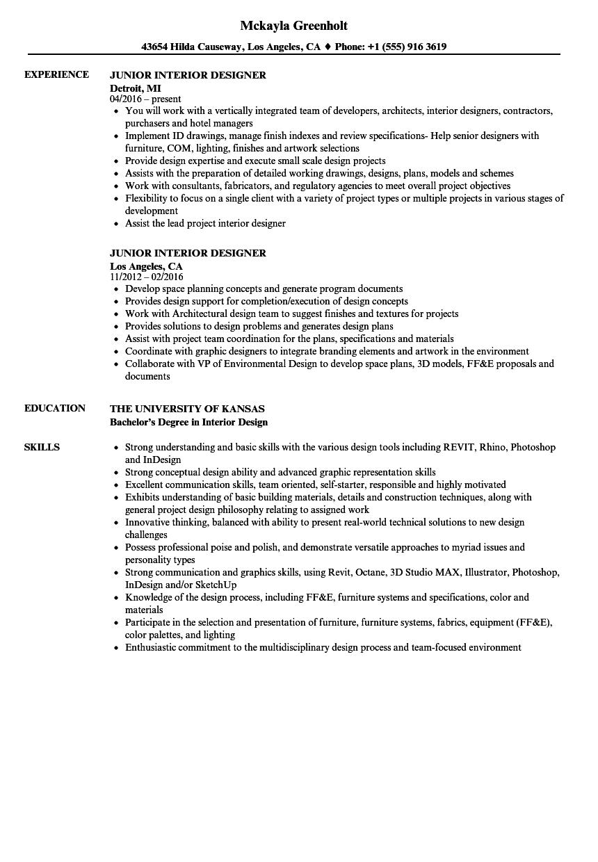 Interior Design Resumes Samples Interior Design Resume Resume Design Interior Design Jobs