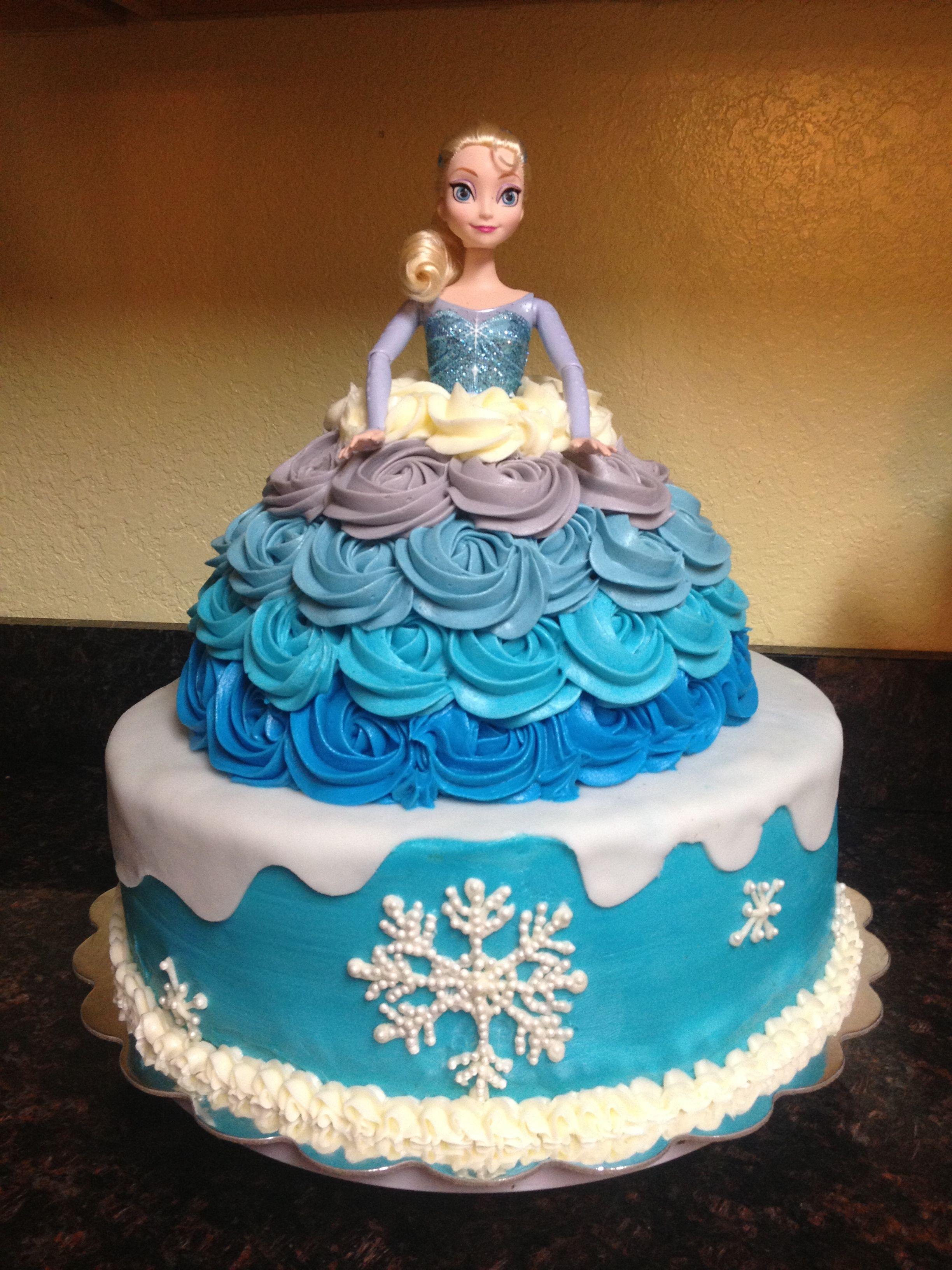 Frozen Cake Used Skating Elsa As Doll Decorations Include