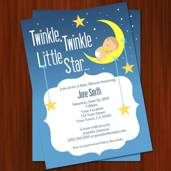 twinkle twinkle little star baby shower invitation - printable diy,