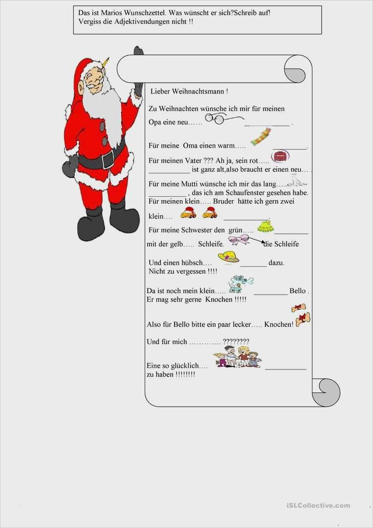Wunschzettel Brief Vom Weihnachtsmann Wunschzettel Lernen