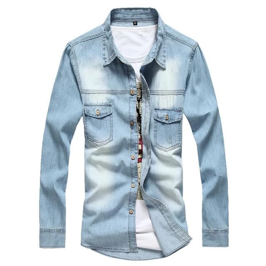 BYWX Men Casual Fit Button Down Shirts Long Sleeve Denim Shirts Western Shirt