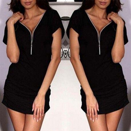 MalangFashion Black Plain Zipper V-neck Short Sleeve Mini Dress